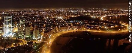 Nocturnal aerial photo of Rambla Armenia - Aerial photos of Montevideo, URUGUAY. Image #65243