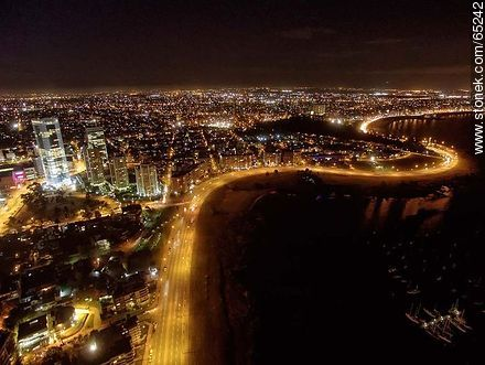 Nocturnal aerial photo of Rambla Armenia - Photos of Buceo quarter - Department and city of Montevideo - URUGUAY. Image #65242