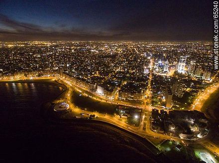 Nocturnal aerial photo of the Rep. of Peru and Armenian Ramblas, buildings and towers - Aerial photos of Montevideo, URUGUAY. Image #65240
