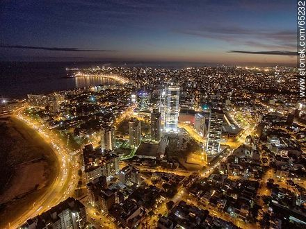 Nocturnal aerial photo of the Rambla Armenia and World Trade Center Montevideo - Aerial photos of Montevideo, URUGUAY. Image #65232