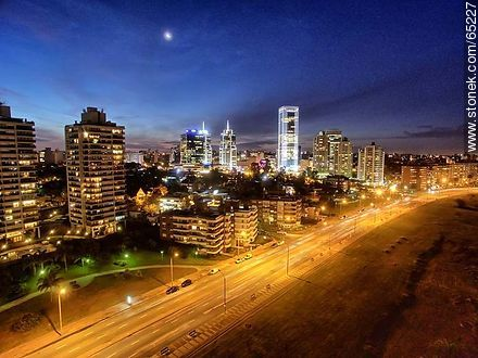 Nocturnal aerial photo of the Rambla Armenia, buildings and towers - Photos of Buceo quarter - Department and city of Montevideo - URUGUAY. Image #65227