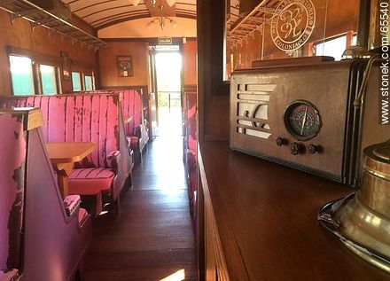 Interior of an old wagon turned-restaurant. Living room - Photos of Colonia del Sacramento - Department of Colonia - URUGUAY. Image #65540