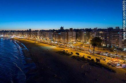 Aerial view at dusk of the rambla and beach Pocitos - Photos of Pocitos quarter - Department and city of Montevideo - URUGUAY. Image #65570