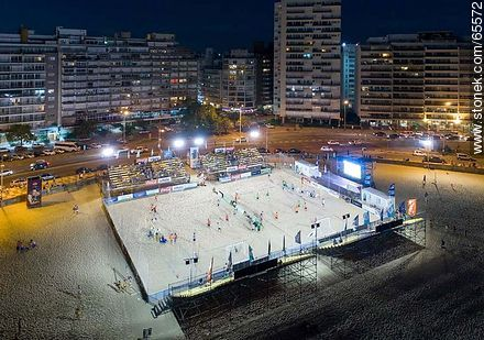 Aerial night view of a sports space on the beach - Aerial photos of Montevideo, URUGUAY. Image #65572