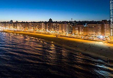 Aerial view at dusk of the rambla and beach Pocitos - Photos of Pocitos quarter - Department and city of Montevideo - URUGUAY. Image #65573