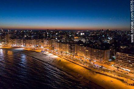 Aerial view at dusk of the rambla and beach Pocitos - Photos of Pocitos quarter - Department and city of Montevideo - URUGUAY. Image #65576