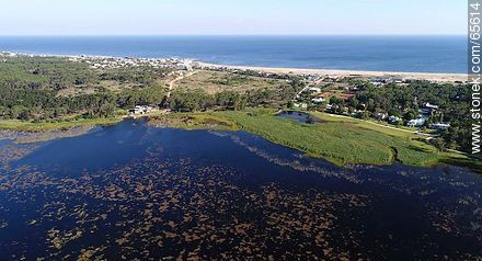 Aerial view of Laguna Blanca, Montoya and Bikini beaches - Photos of La Barra and Manantiales, URUGUAY. Image #65614