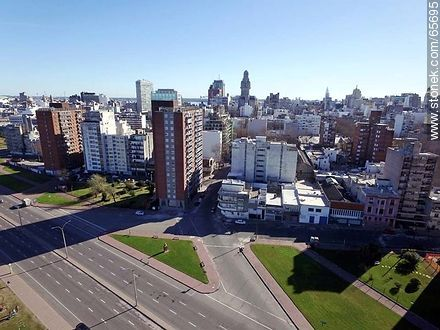 Aerial view of the rambla and Andes and Maldonado street - Aerial photos of Montevideo, URUGUAY. Image #65695