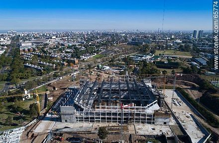 Aerial photo of the construction of the Antel Arena. May 2017 - Aerial photos of Montevideo, URUGUAY. Image #65774