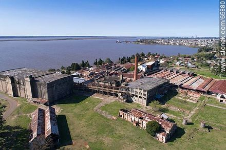 Aerial photo of the Barrio Anglo former Anglo meat processing plant - Photos of Fray Bentos, URUGUAY. Image #65880