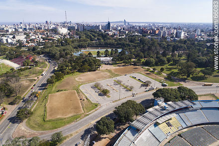 Aerial view of the parking lot used by the drivers' academies in front of the America tribune - Photos of Parque Batlle quarter - Department and city of Montevideo - URUGUAY. Image #66083