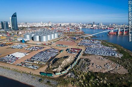 Aerial photo of the port. Silos and imported vehicles - Photos of the Port area - Port of Montevideo, URUGUAY. Image #66123