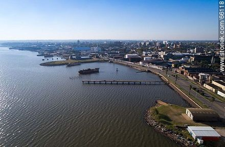 Aerial photo of the rambla Edison  - Photos of the Port area - Port of Montevideo, URUGUAY. Image #66118