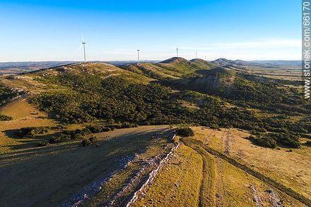 Aerial photo of wind power mills of UTE in the Sierra de Carapé - Photos of rural area of Maldonado - Department of Maldonado - URUGUAY. Image #66170
