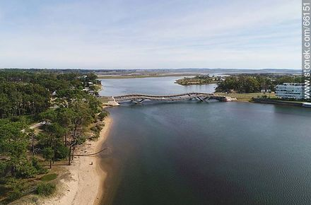 Aerial photo of the stream Maldonado and its undulating bridge - Photos of La Barra and Manantiales, URUGUAY. Image #66151