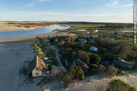 Aerial photo of the mouth of the Valizas stream in the Atlantic Ocean - Photos of Valizas. - Department of Rocha - URUGUAY. Image #66277