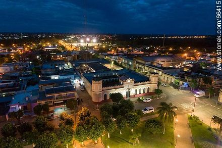 Aerial night view of the city of Artigas - Photos of the City of Artigas - Artigas - URUGUAY. Image #66415