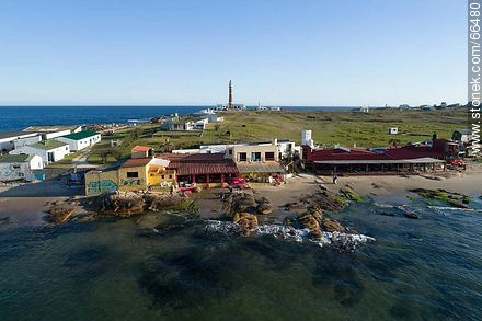 Aerial view of two oceanfront restaurants - Photos of Cabo Polonio. - Department of Rocha - URUGUAY. Image #66480