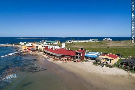 Aerial view of two oceanfront restaurants - Photos of Cabo Polonio. - Department of Rocha - URUGUAY. Image #66470