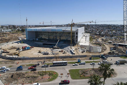 Aerial view of the construction of the Antel Arena. October 2018. - Photos at quarter of Ituzaingo - Department and city of Montevideo - URUGUAY. Image #66523