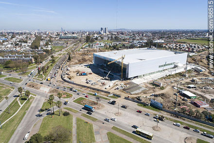 Aerial view of the construction of the Antel Arena. October 2018. - Photos at quarter of Ituzaingo - Department and city of Montevideo - URUGUAY. Image #66515