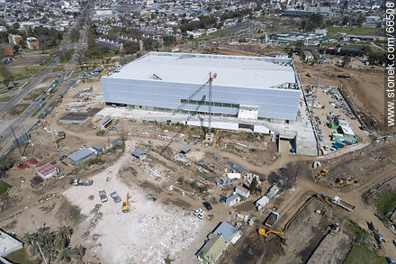 Aerial view of the construction of the Antel Arena. October 2018. - Photos at quarter of Ituzaingo - Department and city of Montevideo - URUGUAY. Image #66508