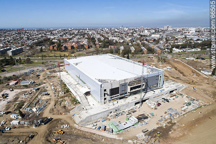 Aerial view of the construction of the Antel Arena. October 2018. - Photos at quarter of Ituzaingo - Department and city of Montevideo - URUGUAY. Image #66505