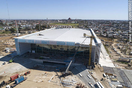 Aerial view of the construction of the Antel Arena. October 2018. - Photos at quarter of Ituzaingo - Department and city of Montevideo - URUGUAY. Image #66502