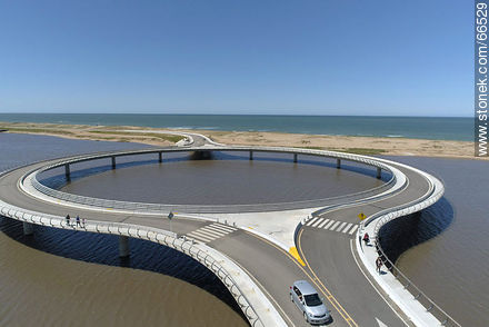 Aerial view of the circular bridge over Laguna Garzón - Photos of Garzon lagoon - Department of Rocha - URUGUAY. Image #66529