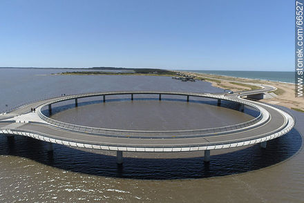 Aerial view of the circular bridge over Laguna Garzón - Photos of Garzon lagoon - Department of Rocha - URUGUAY. Image #66527