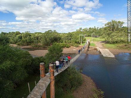 Aerial view of the bridge over the Jabonería stream in Valle Edén - Photos of Valle Edén - Tacuarembo - URUGUAY. Image #66566