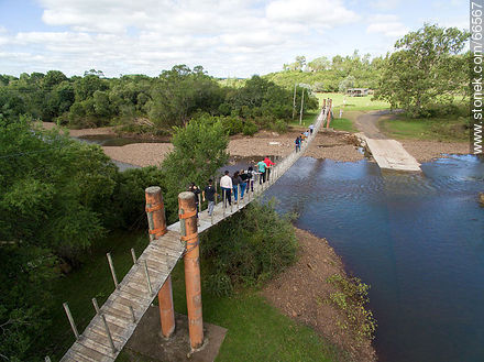Aerial view of the bridge over the Jabonería stream in Valle Edén - Photos of Valle Edén - Tacuarembo - URUGUAY. Image #66567