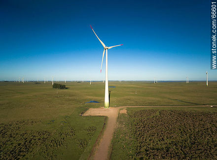 Aerial view of fields dedicated to wind energy - Photographic stock - MORE IMAGES. Image #66601
