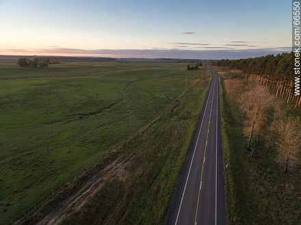 Aerial view of Route 5 at sunset - Photos of the rural area of Tacuarembó - Tacuarembo - URUGUAY. Image #66550