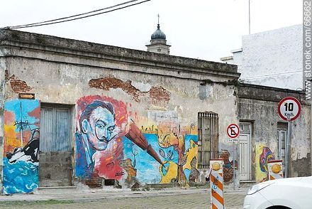Mural in Encina Street - Photos of graffitis painted walls of the city of Montevideo - Department and city of Montevideo - URUGUAY. Image #66662