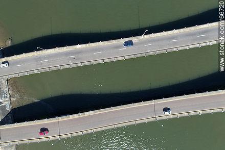 Aerial zenithal view of a sector of the undulating bridge Leonel Viera over the stream Maldonado - Photos of La Barra and Manantiales - Punta del Este and its near resorts - URUGUAY. Image #66720