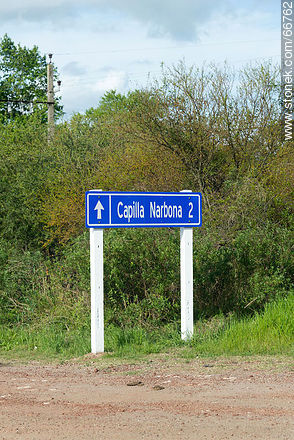 Narbona Chapel Sign - Photos of rural area of Colonia - Department of Colonia - URUGUAY. Image #66762