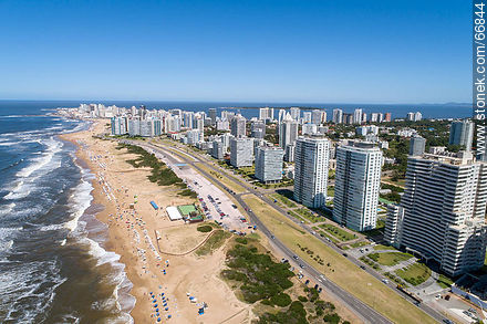 Aerial view of the Lorenzo Batlle Pacheco promenade over Brava beach and its towers. - Photographs of beaches of Punta del Este - Punta del Este and its near resorts - URUGUAY. Image #66844