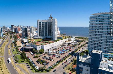 Rear aerial view of Enjoy Hotel (ex Conrad) - Aerial photos of Punta del Este - Punta del Este and its near resorts - URUGUAY. Image #66874