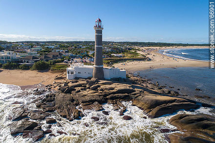 Aerial view from the sea towards the lighthouse - Photos of Jose Ignacio - Punta del Este and its near resorts - URUGUAY. Image #66901