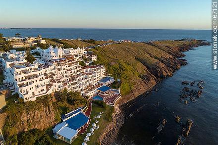 Aerial view of the Casapueblo Hotel in Punta Ballena - Photos of Solanas and Casapueblo at Punta Ballena - Punta del Este and its near resorts - URUGUAY. Image #67121