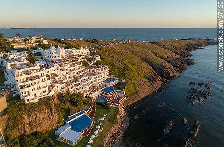 Aerial view of the Casapueblo Hotel in Punta Ballena - Photos of Solanas and Casapueblo at Punta Ballena - Punta del Este and its near resorts - URUGUAY. Image #67120