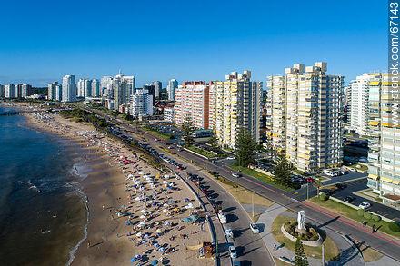 Aerial view of Playa Mansa and Rambla Williman - Aerial photos of Punta del Este - Punta del Este and its near resorts - URUGUAY. Image #67143