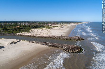 Aerial view of the Chuy stream at its mouth in the Atlantic Ocean. Border with Brazil - Photos of Chuy city - Department of Rocha - URUGUAY. Image #67293