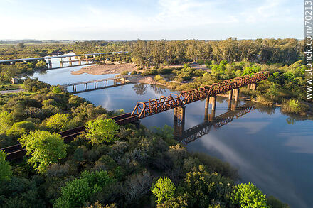 Aerial view of the road and rail bridges over the Olimar Chico River - Department of Treinta y Tres - URUGUAY. Photo #70213