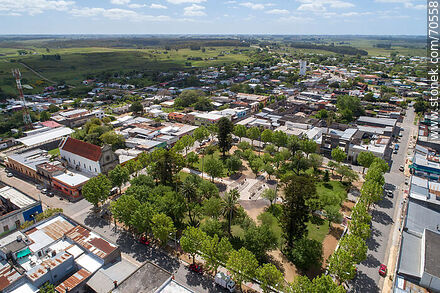 Aerial view of Tomás Berreta Square and the town - Department of Canelones - URUGUAY. Photo #70558