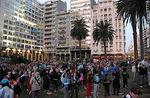 Photo #37776 - Uruguay - Ghana match wide screen transmission at Plaza Independencia to pass to semi finals
