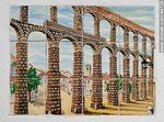 Photo #44729 - Painting on tile of Roman aqueducts