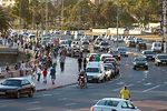 Photo #56295 - Crowd of cars and pedestrians at sunset on the  promenade of beach Ramirez