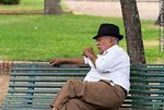 Photo #57250 - Elderly retired resting on a park bench
